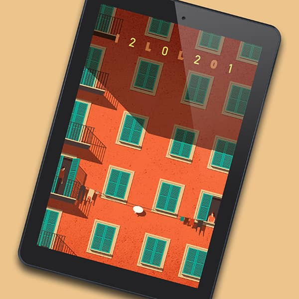 Mockup of 3x3 Illustration Directory 2021 in an eReader. Cover image by Davide Bonazzi